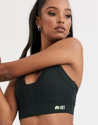 HIIT bra with mesh detail in black