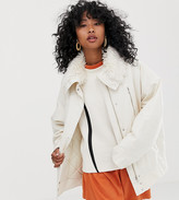 Weekday short parka jacket with faux fur collar in off white