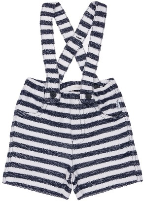 Il Gufo Striped Cotton Shorts W/ Suspenders