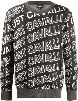 Just Cavalli Monogram Logo Crew Neck Jumper