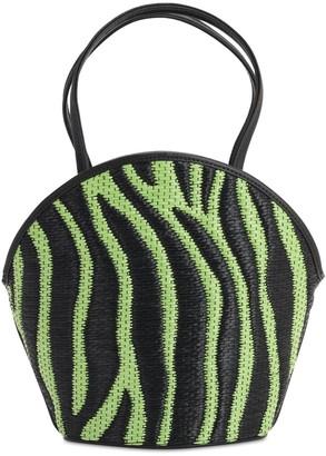 Les Petits Joueurs Kaia Zebra Raffia Effect & Leather Bag