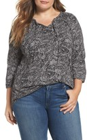 Lucky Brand Plus Size Women's Keyhole Print Peasant Top