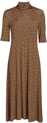 Rosetta Getty Leopard Cowl Turtleneck Midi Dress