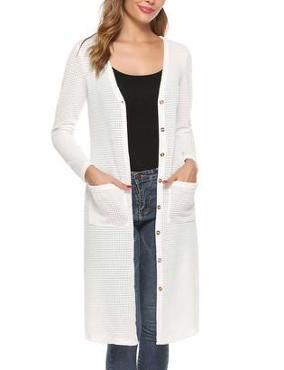 iClosam Women's Long Cardigan Open Front Drape Lightweight Thin Sweater with Pockets Beige