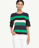 Ann Taylor Striped Ruffle Cuff Sweater