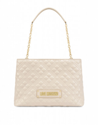 Love Moschino Quilted Laminated Shopper Woman White Size U It - (one Size Us)