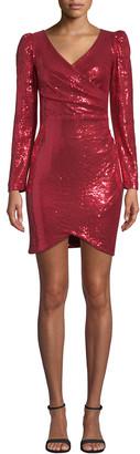 Nicole Miller Sequin Long-Sleeve Surplice Mini Dress