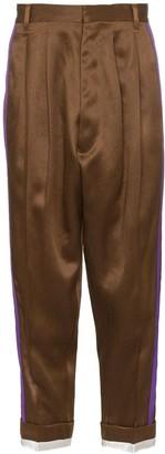 Haider Ackermann Striped Tapered Silk Blend Trousers