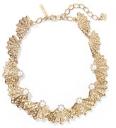 Oscar de la Renta Gold-plated, Swarovski crystal and faux pearl necklace