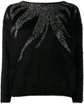 Saint Laurent crystal design jumper - women - Nylon/Crystal/Mohair/Wool - 36