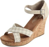 Toms Cork Strappy Wedges Woven 10007832 Womens 8