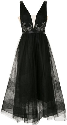 Marchesa Notte sequin V-neck high-low dress