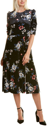 Eliza J Printed Velvet Midi Dress