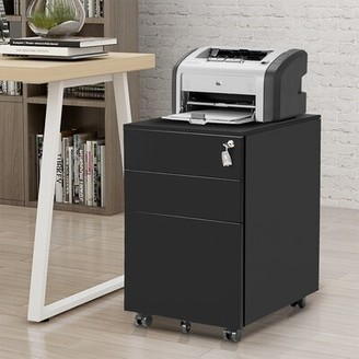 Inbox Zero Metal Lockable 3 Drawer Mobile Vertical Filing Cabinet Color: Black
