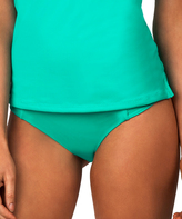 Leilani Aqua Shirred-Side Bikini Bottoms