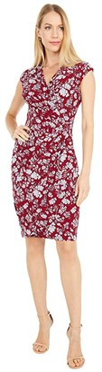 Lauren Ralph Lauren Rodya Cap Sleeve Day Dress (Vibrant Garnet/Colonial Cream) Women's Dress