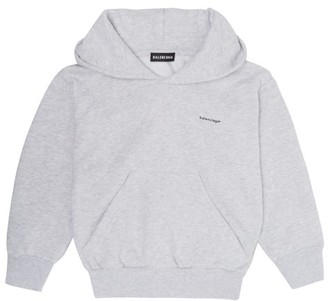 Balenciaga Kids Logo-print Hooded Cotton-blend Sweatshirt - Light Grey