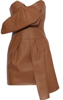 Alexandre Vauthier Strapless Gathered Leather Mini Dress