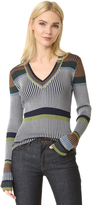 Diane von Furstenberg Long Sleeve V Neck Sweater