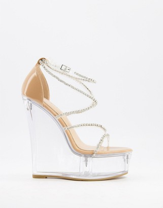 Simmi Shoes Simmi London Estephania platform wedge sandals in clear