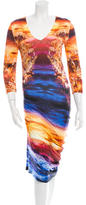 McQ by Alexander McQueen Printed Three-Quarter Sleeve Dress w/ Tags