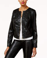 Thalia Sodi Faux-Leather Applique Jacket, Created for Macy's
