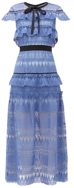 Self-Portrait Self Portrait Daphne Tiered Guipure-lace Midi Dress - Womens - Blue