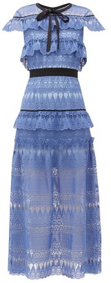 Self-Portrait Daphne Tiered Guipure-lace Midi Dress - Womens - Blue
