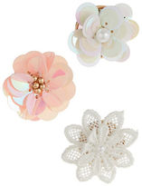Expression Three-Piece Sequin and Crochet Flower Brooches Set