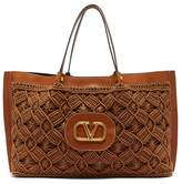 Valentino Garavani - V-logo Escape Large Macrame And Leather Tote Bag - Womens - Dark Brown