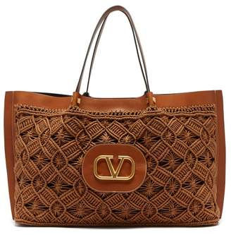 Valentino V-logo Escape Large Macrame And Leather Tote Bag - Womens - Dark Brown