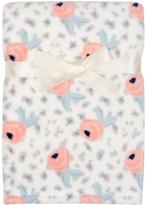 Cutie Pie Baby 30'' x 32'' Cream & Pink Floral Velboa Stroller Blanket & Hanger