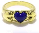 Saint Laurent 18K Yellow Gold Lapis Lazuli Heart Ring