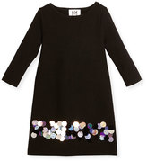 Milly Long-Sleeve Sequin Ponte Shift Dress, Black/Multicolor, Size 8-14