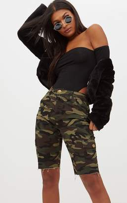 PrettyLittleThing Camouflage Mid Length Denim Cycle Shorts
