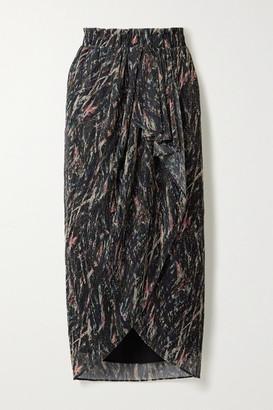 IRO Aubagna Wrap-effect Printed Lurex Midi Skirt
