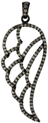 Artisan 925 Sterling Silver Pave Diamond Feather Pendant Jewelry Black Friday Sale