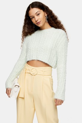 Topshop Sage Green Fluffy Cable Crop Knitted Sweater