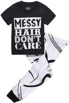 "Magical Baby Kids Girls ""MESSY HAIR DON'T CARE""T-shirt and Printing Pants Outfit"