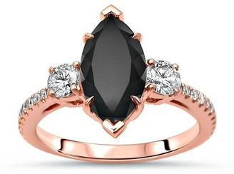Overstock 14k Rose Gold 2 & 1/2ct Black Marquise Diamond 3 Stone Engagement Ring