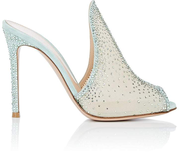 Gianvito Rossi Women's Ariel Crystal-Embellished Mesh Mules