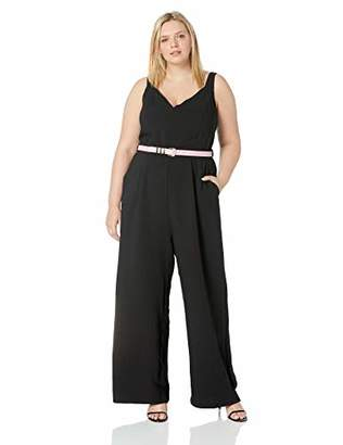 City Chic Women's Apparel Women's Plus Size Strappy Wide Legged Solid Jumpsuit with Contrast Belt