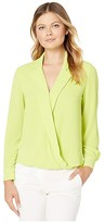 Vince Camuto Long Sleeve Notch Collar Faux Wrap Front Blouse (Lime Chrome) Women's Clothing