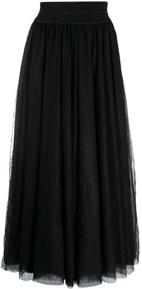 Lorena Antoniazzi tulle detail A-line midi skirt