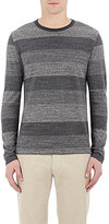 Officine Generale MEN'S SHADOW STRIPE SWEATER-GREY SIZE L