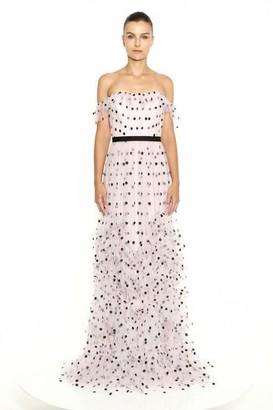 Marchesa Notte Off the Shoulder Sequin Polka Dot Gown