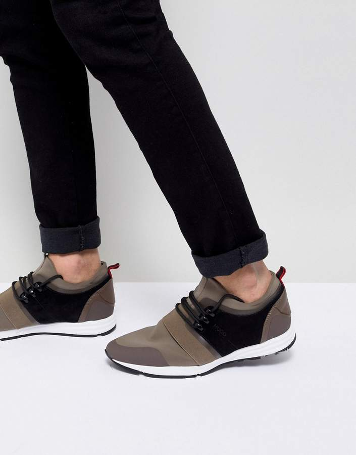 HUGO Neoprene Running Sneakers in Khaki