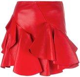 Alexander McQueen ruffled mini skirt - women - Cotton/Lamb Skin - 40