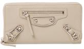 Balenciaga Metallic Edge Leather Zip Around Wallet
