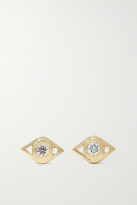 Sydney Evan Small Evil Eye 14-karat Gold Diamond Earrings